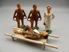Vtg Barclay Manoil Lead Soldier Lot Medic Nurse Wounded Stretcher 5pcs Antique