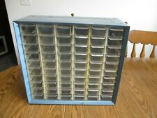 Akro Mills 60 Drawer Storage Cabinet Blue Metal Small Part Tools Sewing Wall