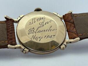 Rare 1947 Jaeger LeCoultre 14K Solid Yellow Gold Fancy Case Men's Watch RUNS