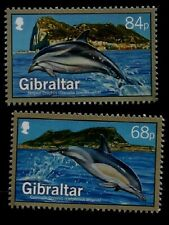 Marine Life Dolphins Gibraltar Two Mint Never Hinged Stamps