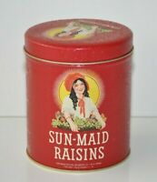 Vintage Sun Maid Raisins Round Tin with Lid 1992 Tin Box Company Red