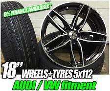 "18"" Audi A3 A4 VW Golf Gti Ttrs STYLE GLOSS BLACK ALLOY WHEELS + TYRES"