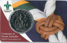 2008 UNC 50c CENTENARY OF SCOUTS AUST COIN ON CARD