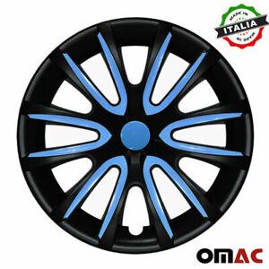"14"" Inch Hubcaps Wheel Rim Cover For Honda Matt Black with Blue Insert 4pcs Set"