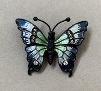 Vintage Enamel Painted Butterfly Brooch Pin Clear Rhinestone Blue Green Black
