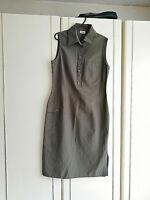 C&A YESSICA WOMENS GREEN KHAKI SLEEVELESS DRESS SIZE 10 COLLAR LENGTH 43 INCH