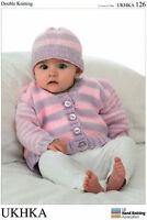 Cardigans & Hat Double knitting pattern. (Prem - 12mths ) -UKHKA126