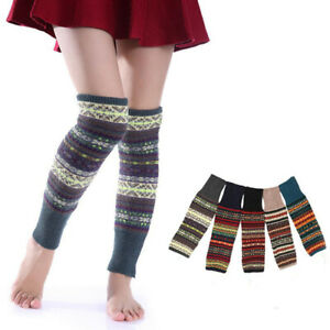 Knit Boot Warmer Socks Leg Warmers Leggings Winter Fair Isle Knee High Crochet