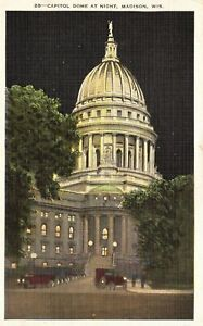 Vintage Postcard 1937 Capitol Dome At Night Madison Wisconsin Wis.