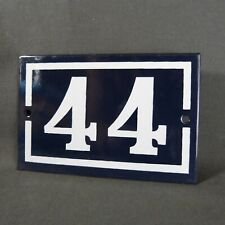 French Vintage Blue Enamel Metal Street Number n°44 Door House Plaque