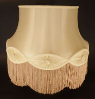 New 100% Pure Silk Champagne Floor Lamp Gallery Bell Shade With Fringe Trim