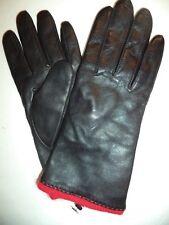 Ladies Red Angora/Lambswool Lined Genuine Leather Gloves,Black,Medium