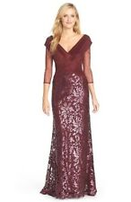 Tadashi Shoji Sequin Mesh bodice Lace Burgundy Gown Dress Sz 14 New