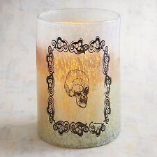 BRAND NEW NWT PIER I $59  HEAVY GLASS LARGE  SKULL HURRICANE CANDLE HOLDER