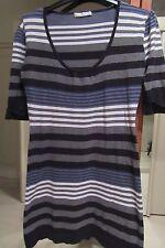 robe-tunique laine bleu-noir-gris-blanc décolletée 40-42