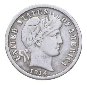 Higher Grade - 1914 Barber Liberty US Silver Dime - Great Detail in LIBERTY *759