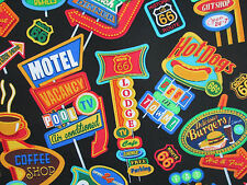 RETRO SIGNS MOTELS ROUTE 66 DINER HISTORICAL SIGNS COTTON FABRIC FQ