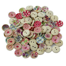 100Pcs Printed Colours Delicate Wood Buttons DIY Buttons for Sewing Crafting