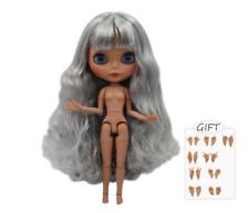 Ash Grey Long Hair Blythe Doll 30cm Joint Body 1/6 BJD Changing Eye Color