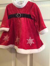 Red Velvet Santa Dress First Christmas Size 6-9 M Holidays Faux Fur Snowflake
