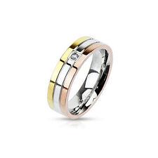 Damen Herren Ringe Edelstahl Damenring Band Ring Rosè Gold Silber Edelstahlringe