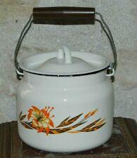 Petite casserole RUSSE faitout émaillée à fleurs diamètre 16cm Vintage 70's