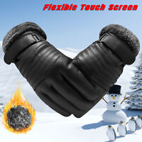 Thermal Leather Gloves Winter Warm Touch Screen Driving Ski Gloves For Men Women