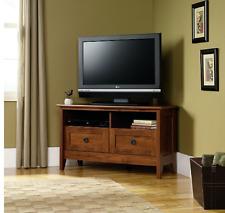 Corner TV Stand Flat Screen Wood Storage Cabinet Media Furniture Bedroom Brown