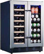Kalamera Beverage and Wine Cooler | 24 inch with Seamless Steel Door | Dual Zone