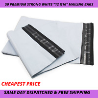 50 Cheapest Premium Strong 12x16  WHITE Virgin Plastic Mailing Poly Postage Bag