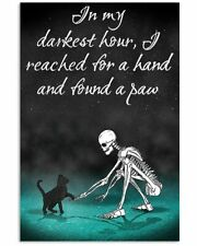 Skeleton and Black Cat I Reached For A Hand And Found Poster No Frame/Canvas