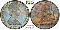 1971 NEW ZEALAND 50 CENTS PCGS MS67 BU COLOR TONED COIN NONE GRADED HIGHER