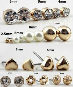 12 Set Ear Stud Earrings Gift Mix Design Womens Girls Jewellery