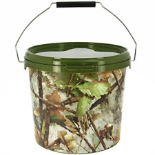 5 Litre NGT Round Camo Bucket with Metal Handle Fishing Bait Carp Boilies Coarse