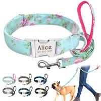 Custom Dog Collar Personalised Nylon Puppy Cat Collar Nylon Dog Lead ID Collars