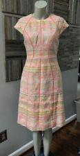 Lela Rose Seamed Neon Fringed Tweed Dress Size 6