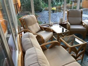 Wicker Cane Conservatory Furniture - 2 Seater Sofa + 2 Chairs + 2 Tables