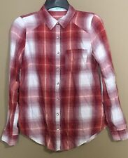 Maurices Ladies Size Small Red Orange Plaid Pearl Snap Button Up Shirt