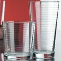 Set of 12 Ribbed Drinking Glasses  6-17 oz Highball Glasses 6-13 oz DOF Glasses