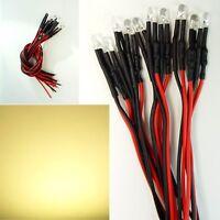 10 Stück LED 5mm z.B als Hausbeleuchtung Warm-Weiß 12V  Verkabelt NEU C2357