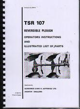 """RANSOMES """"TSR 107"""" aratro reversibile ISTRUZIONI E LIBRO ILLUSTRATO DELLE PARTI"""