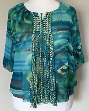 One World Live & Let Live Peasant Boho Blouse Sheer Chiffon Green Floral Plus 1X