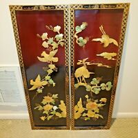 VINTAGE CHINESE MOTHER OF PEARL TWO WALL HANGING PANELS GORGEOUS GARDEN SCENERY