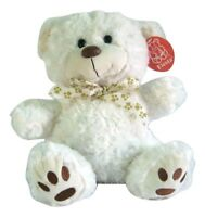"Fiesta 12 Inch Sitting Teddy Bear Ribbon Paw Prints Bow Around Neck  Sitting 9 """