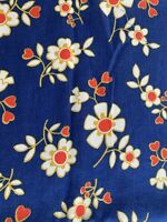 VINTAGE  FLOWER POWER DAISY COTTON FABRIC NAVY WHITE RED GOLD REMNANT