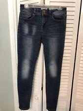 Indigo Rein Ankle Dark Wash Blue Distressed Denim Jeans Junior's Size 11
