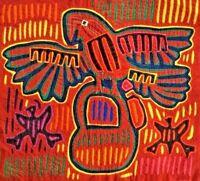 """MOLA Art 1960s Vintage Reverse Appliqué San Blas Cuna  - Parrot Basket 17"""" x 16"""""""