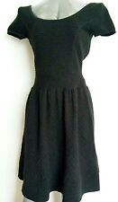 Designer SANDRO knitted dress size S--MINT-- plunge back black cotton