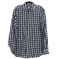 Peter Millar Mens Gingham Button Down Shirt Long Sleeve Navy Blue Size L NWOT