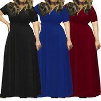 Plain Dress Women Lady V Neck Maxi Pockets Sundress Short Sleeve Loose Plus Size